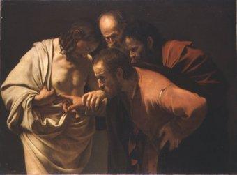 L'incredulità di S.Tommaso di Caravaggio (collezione Giustiniani)